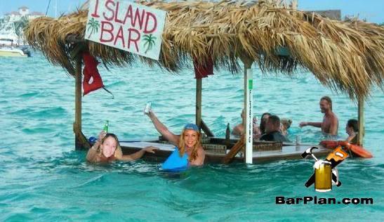 people swimming around swim up tiki bar