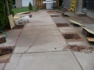 foundation holes filled with rain water