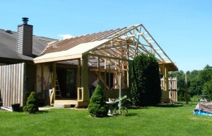 roof trusses with initial sheeting in place