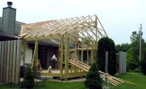 three season room trusses completed