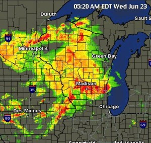 radar map showing strong storms
