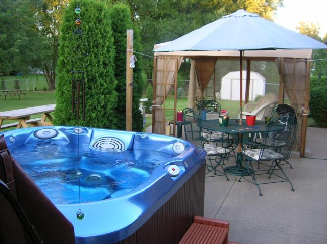 hot tub and gazebo tent