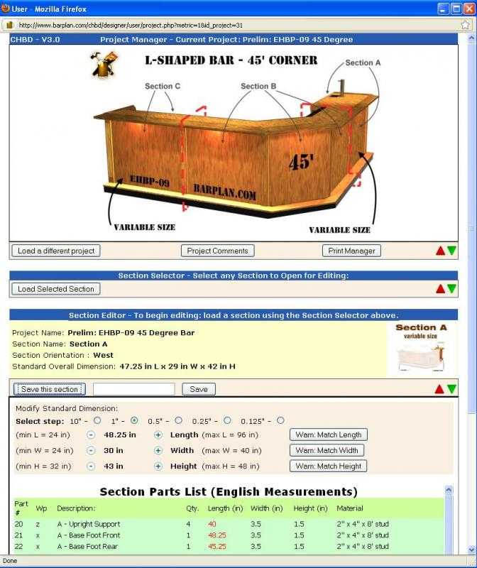 screen shot of CHBD user panel