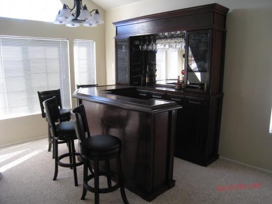 combo home bar with bar back