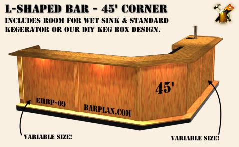 Ehbp 09 45 degree angled corner wet bar easy home bar plans for Home wet bar dimensions