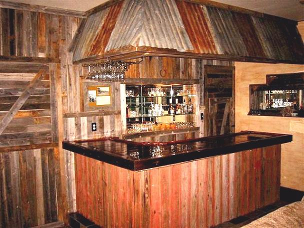 Western style home bar theme for Wooden bar design