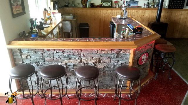 49'ers home bar with stone front facing