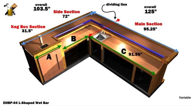 Ehbp 04 l shaped wet bar easy home bar plans for Home bar dimensions