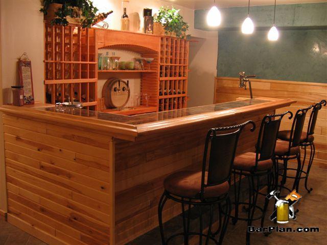l-shaped bar with wine rack bar back