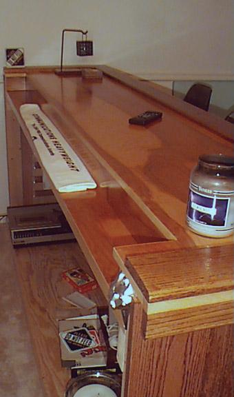 simple oak home bar