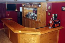 basement bar 45 degree corner