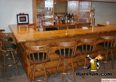 log cabin style home bar