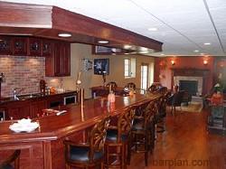 Basement Bar and Fireplace