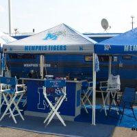 portable bar set up at stadium parking lot tailgate party