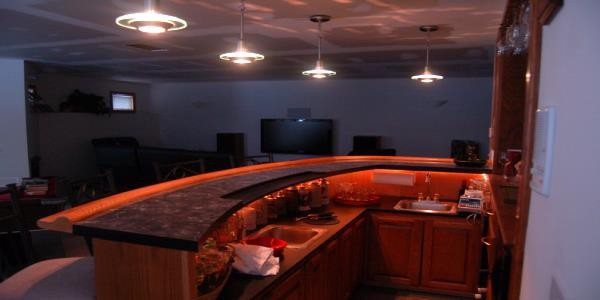curved home bar design