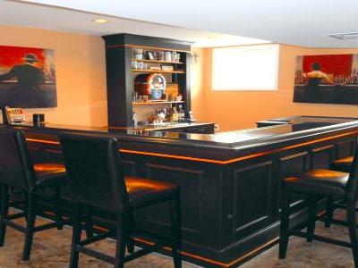 Ebony black and orange wet bar project