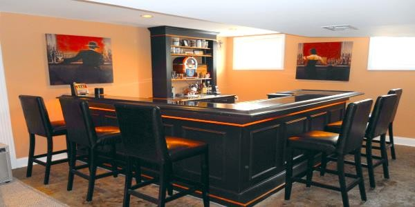 elegant orange and black home bar