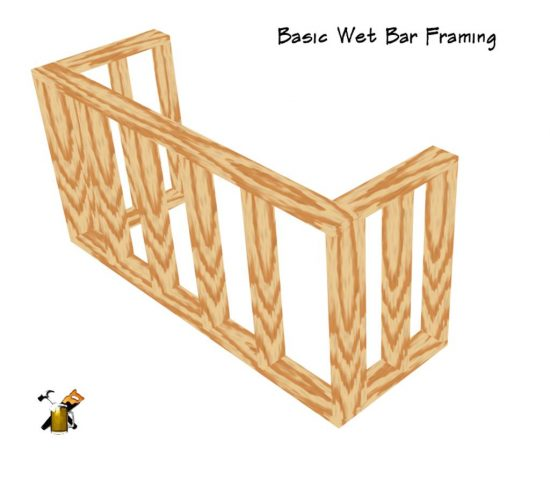 basic wet bar frame comstruction