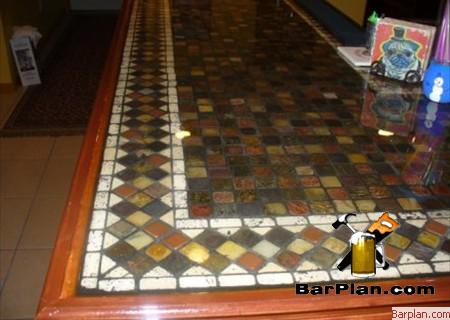 distressed bar tile top example