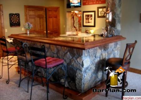 stone front home bar