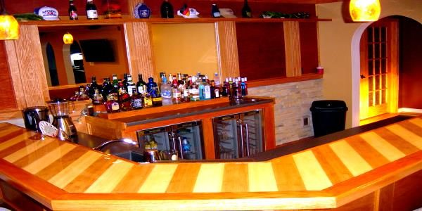 zebra wood bar top design