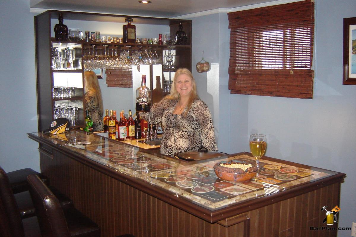 decoupage bar top with happy owner