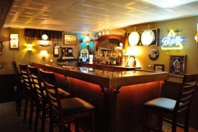 classic basement l-shaped bar photo