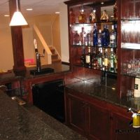 combination l-shaped wet bar and bar back