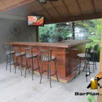 backyard bar built under canopy roof