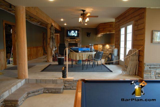 limestone home bar room