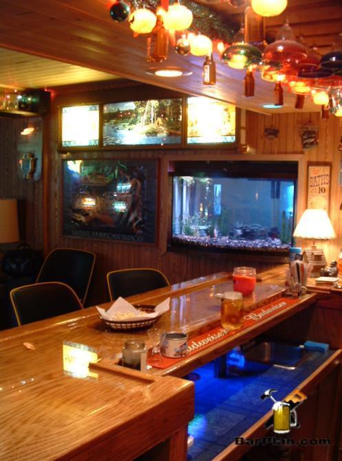 home bar with fish tank and hamms scenerama