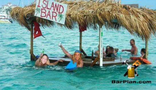 people swimming around floating bar