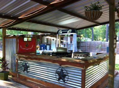 backyard bar under roof with metal sheeting