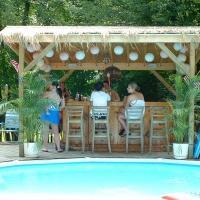 peopl sitting at backyard poolside tiki bar