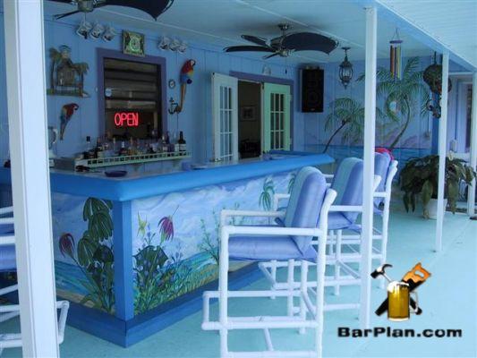 blue tropical backyard bar under patio roof