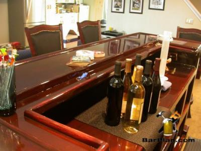 Wine bar with glass like shiny epoxy bar top