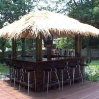 thatched roof backyard tiki bar