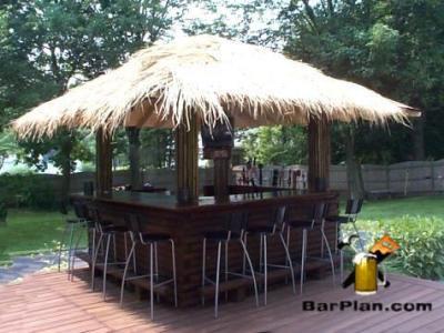 outdoor yard tiki bar hut