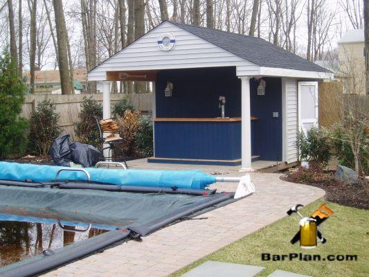 poolside beer bar with protective shed roof overhang