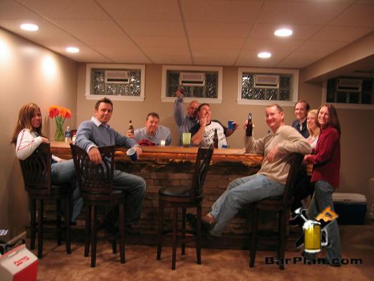 happy people around home bar
