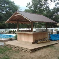 outdoor wrap around wet bar next to pool with metal roof