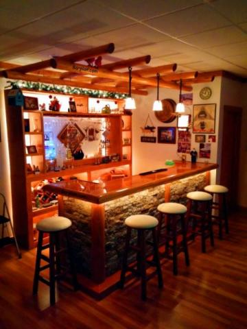 rustic northwoods bar theme