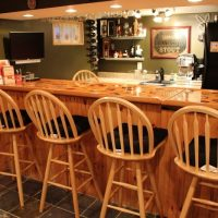 home bar with country style bar stools