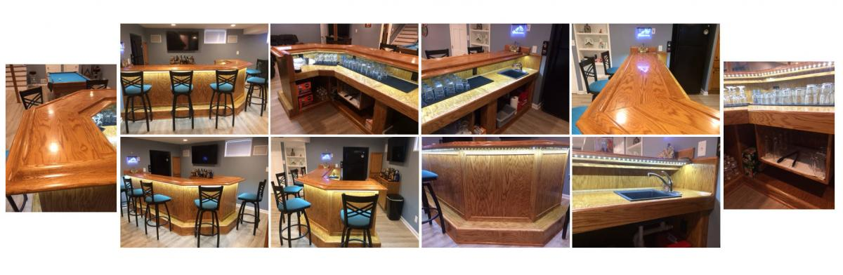 45 degree corner bar project completed photo sequence