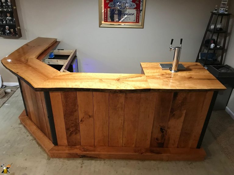 completed cherry wood bar front view