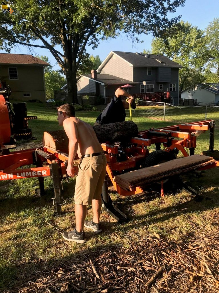 milling cherry tree into lumber