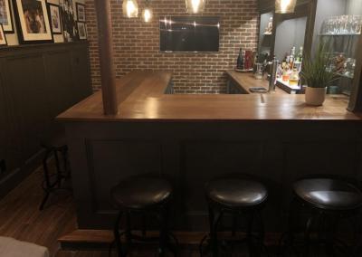 u shaped basement bar