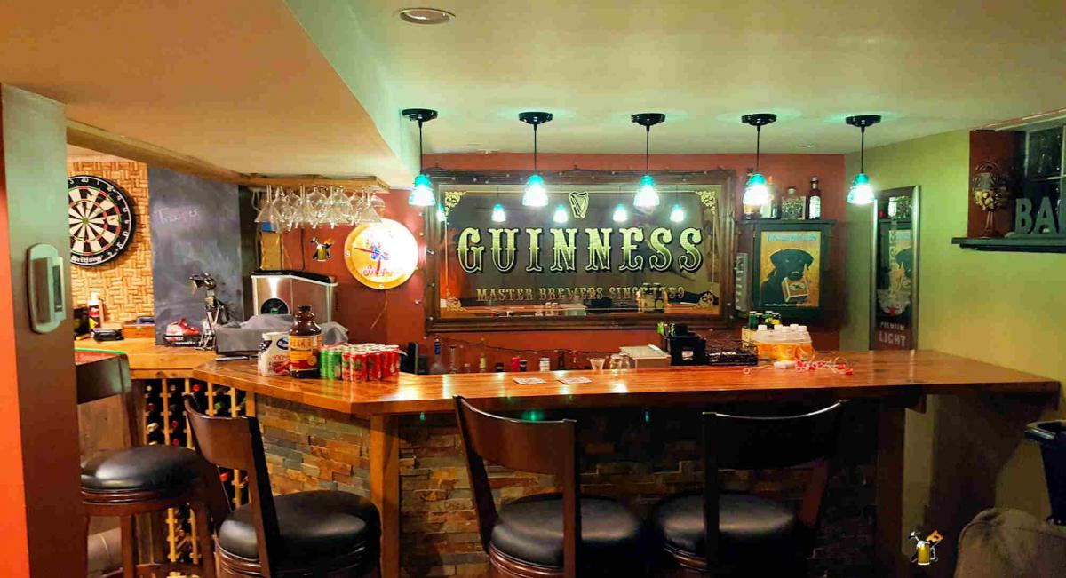 guiness home bar with 45 degree corner