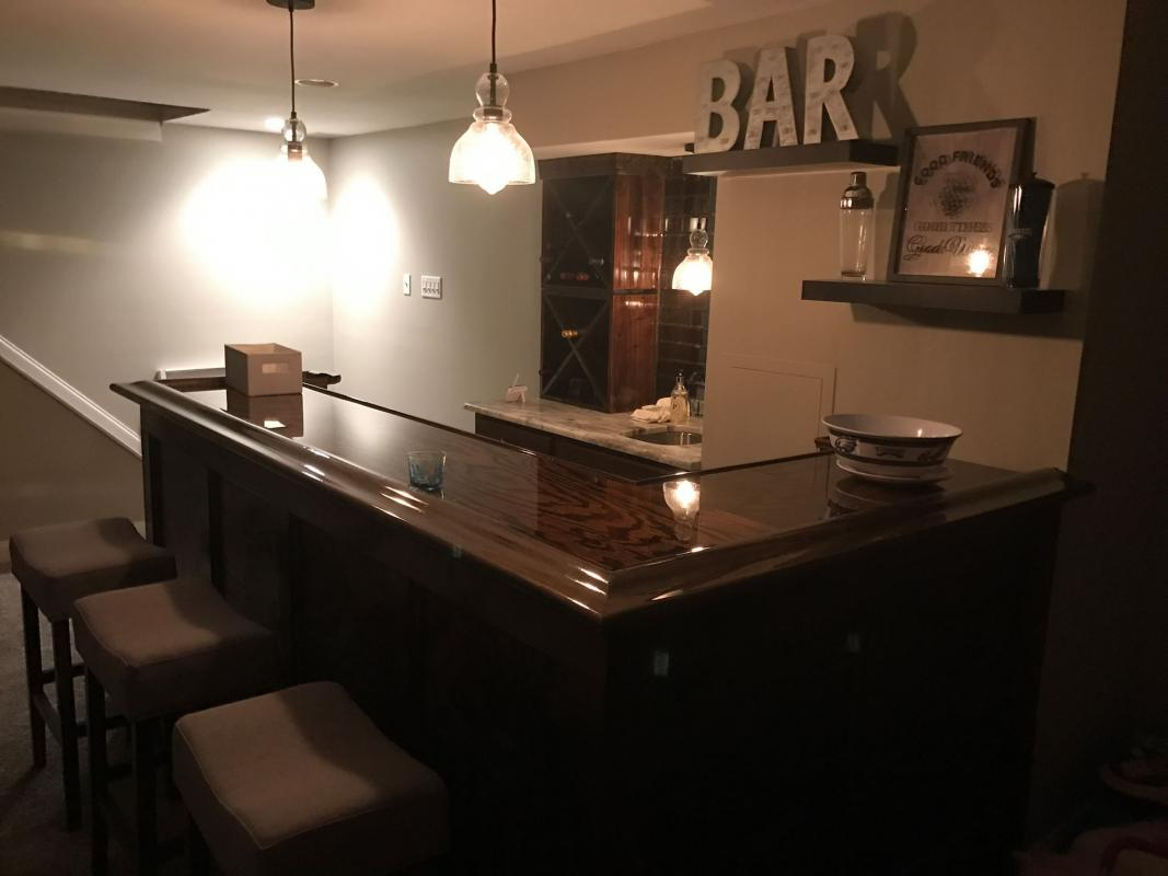 l-shaped home bar glass top