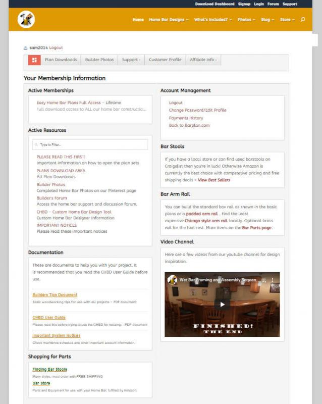 members area screenshot